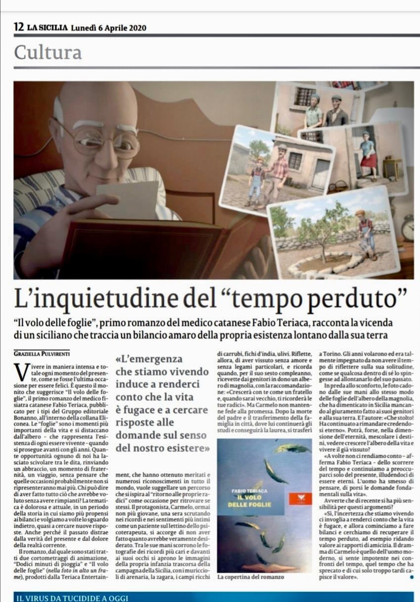 Articolo LA SICILIA Il Volo delle Foglie Libro