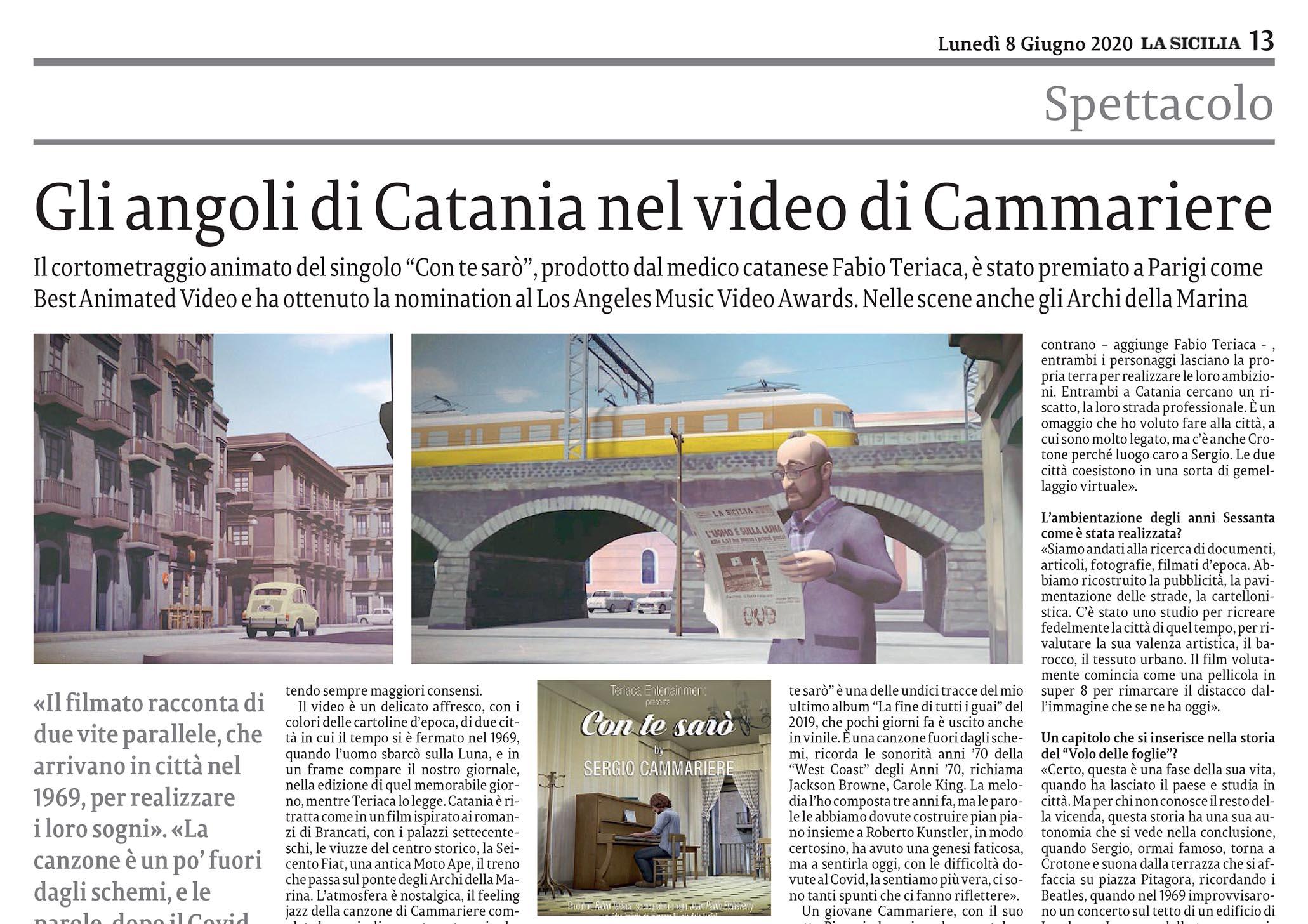 Articolo LA SICILIA Video Singolo Sergio Cammariere