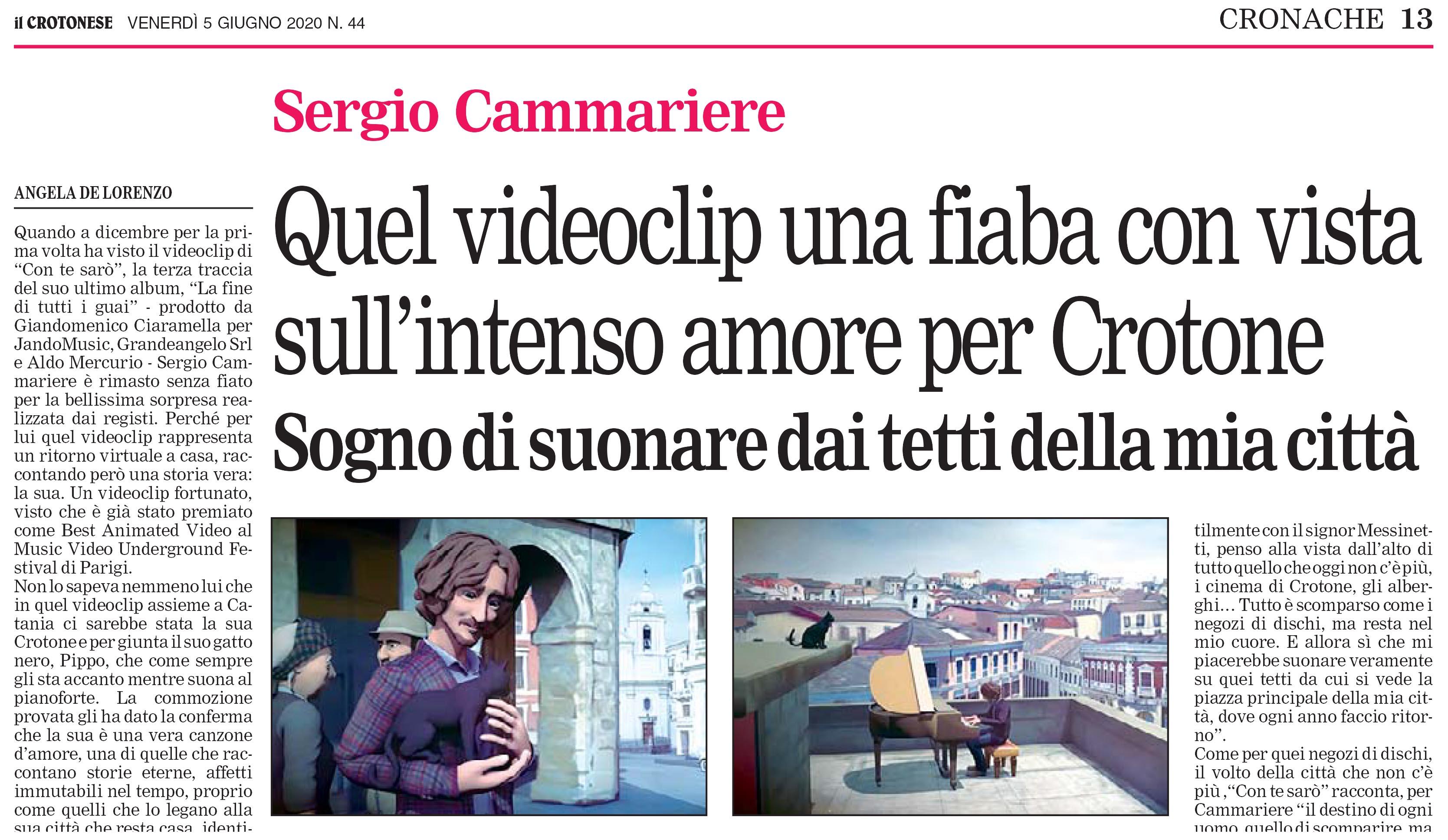 Articolo IL CROTONESE Video Singolo Sergio Cammariere